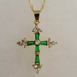Gold Plated Green  Colored Cross Necklace Pendant